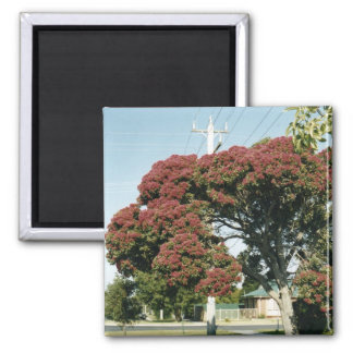 Red tree 2 inch square magnet