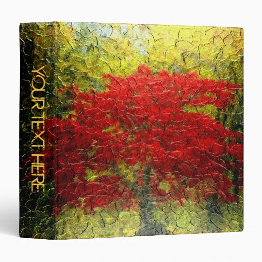 Red Tree Abstract Painting In Autumn 2 Binder