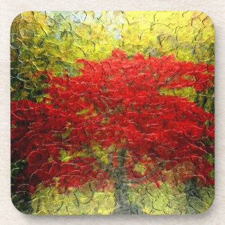 Red Tree Abstract Painting In Autumn Coaster