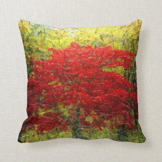 Red Tree Abstract Painting In Autumn Throw Pillows