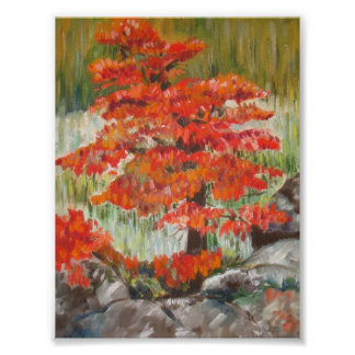 Red tree acrylic painting poster