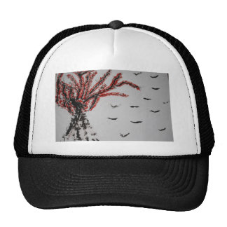Red Tree and Birds Trucker Hat