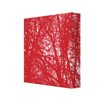 Red Tree Branch Silhouette Canvas