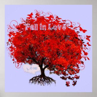 Red Tree Fall In Love Swirls Tree Poster