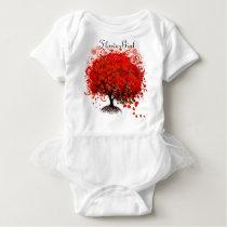 Red Tree Flower Girl Tutu T-Shirts, Gifts Baby Bodysuit