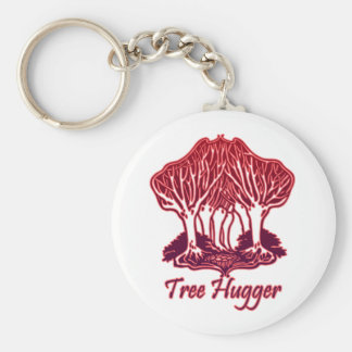 Red Tree Hugger Nature Trees Environment Keychain