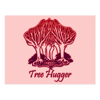 Red Tree Hugger Nature Trees Environment Postcard
