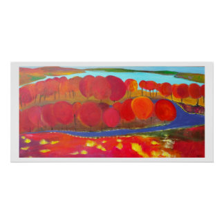 Red tree lined trail by the water poster
