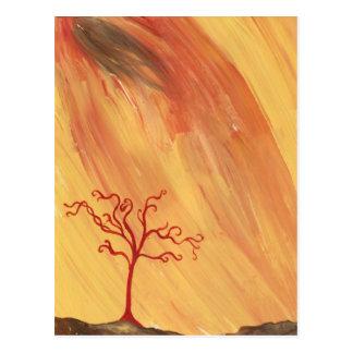 Red Tree Minimalist Painting Art Gear Postcard