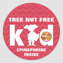 Red Tree Nut Free Kid Girl Silhouette Epinephrine Classic Round Sticker