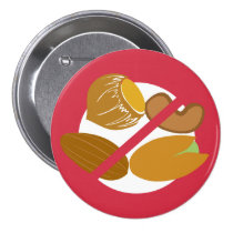 Red Tree Nut Free Nut Allergy Kids Pinback Button