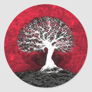 Red Tree of Life Classic Round Sticker