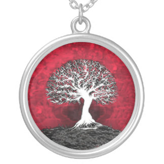 Red Tree of Life Pendant Jewelry Necklace