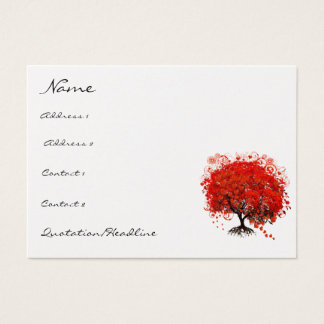 Red Tree Roots Swirls Hearts with Birds Business Card
