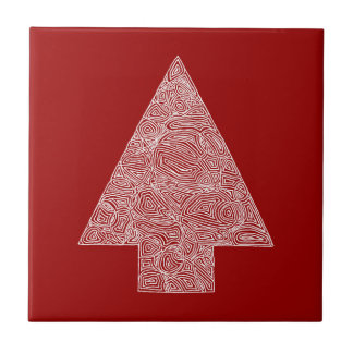 Red Tree Small Square Tile