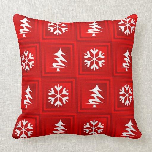 Red Tree & Snowflake Throw Cushion