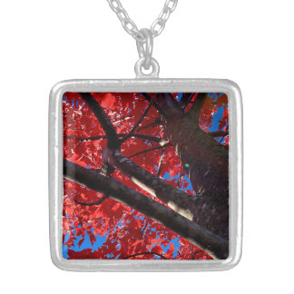 Red Tree Square Pendant Necklace
