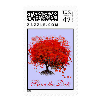 Red Tree Wedding change to any color Postage