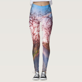 Red Trees Along the Highway Leggings
