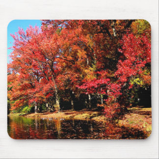 Red Trees by Lake Mouse Pad