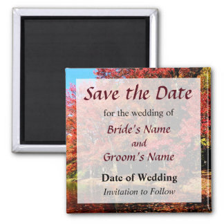 Red Trees by the Lake Save the Date Magnet