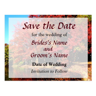 Red Trees by the Lake Save the Date Postcards