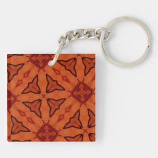 Red trendy abstract pattern Double-Sided square acrylic keychain