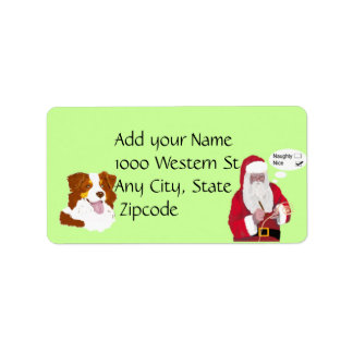 Red Tri Aussie w/ Santa Claus Naughty or Nice Label