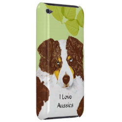 Red Tri Australian Shepherd Dog on Green Leaves iPod Touch Case-Mate Case