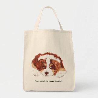 Red Tri Australian Shepherd Puppy Tote Bag