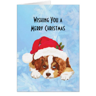 Red Tri Christmas Puppy in a Santa Hat Note Card