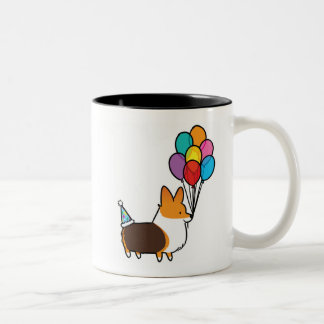 Red Tri-Color Corgi Birthday Balloons Mug