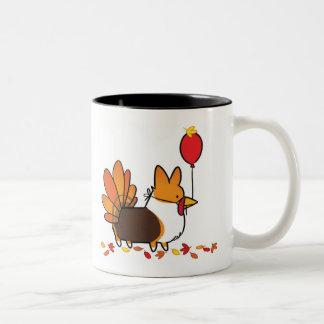 Red Tri-Color Thanksgiving Turkey Mug |CorgiThings