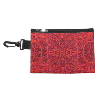 Red tribal damask pattern accessory bag