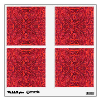 Red tribal damask pattern wall decal