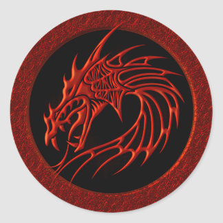 RED TRIBAL DRAGON ROUND STICKERS