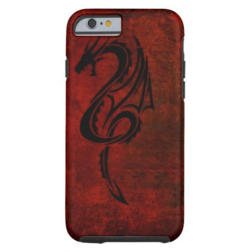 Red tribal dragon tattoo art tough iphone 6 case zazzle for Tattoo artist iphone cases