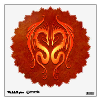 Red Tribal Dragons Wall Decal