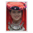 Red Tribal Headdress Greeting Cards