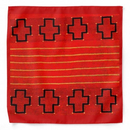 Red Tribal Native American Southwestern Weaving Bandana