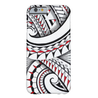 Red tribal polynesian patterns with shading barely there iPhone 6 case
