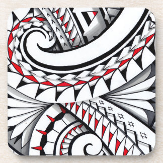 Red tribal polynesian patterns with shading coaster