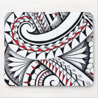 Red tribal polynesian patterns with shading mouse pad