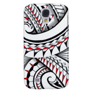 Red tribal polynesian patterns with shading samsung galaxy s4 cover