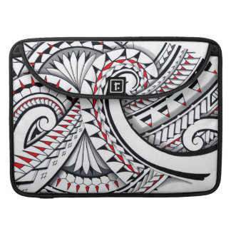 Red tribal polynesian patterns with shading sleeve for MacBook pro