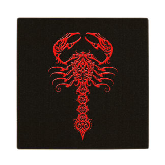 Red Tribal Scorpion on Black Wooden Coaster
