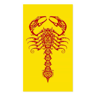 Red Tribal Scorpion on Yellow Business Card Templates