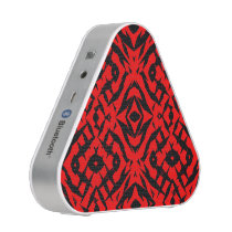 Red tribal shapes pattern bluetooth speaker