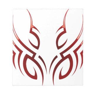 red  tribal tattoo motive notepad