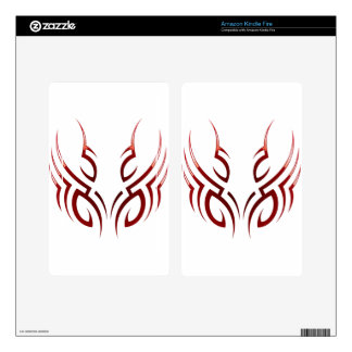 red  tribal tattoo motive skin for kindle fire